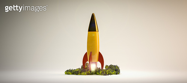 starting rocket on white background - 3d illustration