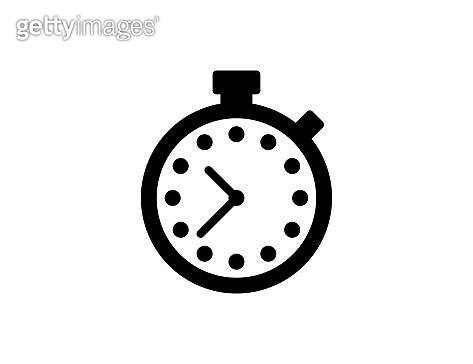 Timer vector icon. Isolated stopwatch flat, black colored symbol – Vector