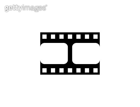 Filmstrip, film frames vector icon. Isolated film reel, tape flat black colored symbol – Vector