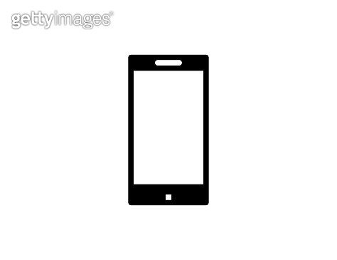 Smartphone vector icon. Isolated mobile phone flat black colored symbol – Vector