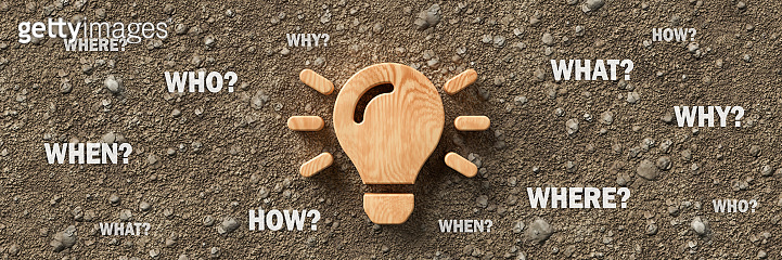 wooden lightbulb with the words WHEN, WHAT, WHERE, WHO, WHY and HOW - 3d illustration