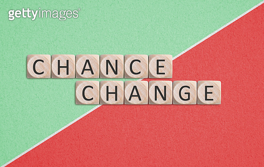 twelve cubes with letters, showing the words CHANGE and CHANCE