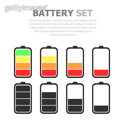 A set of batteries of different charge levels. White background. Multicolored and black and white.