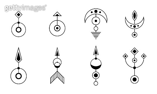 Set of eight abstract geometric symbols. Sacred geometry sign with geometric shapes.