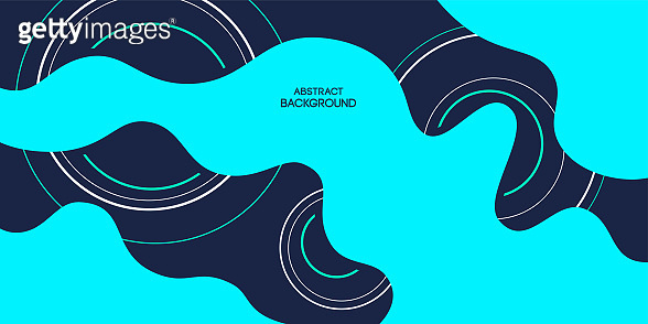 Abstract background, poster, banner. Composition of amorphous forms, liquid shapes and circles.