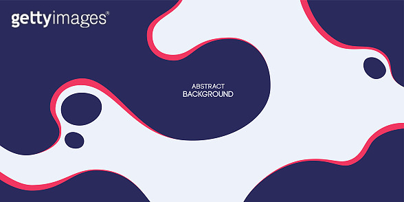 Abstract background, poster, banner. Composition of amorphous forms, liquid red and blue shapes.