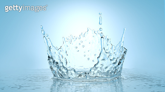 Frozen motion splash crown with waves and droplets on calm water surface realistic 3d illustration. Pure drink fresh source, clean environment and ecology concept. Natural product presentation background