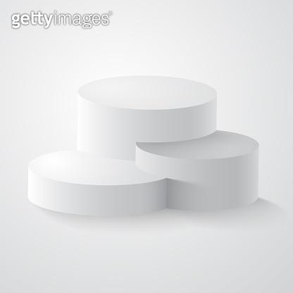 White round podium, pedestal or platform
