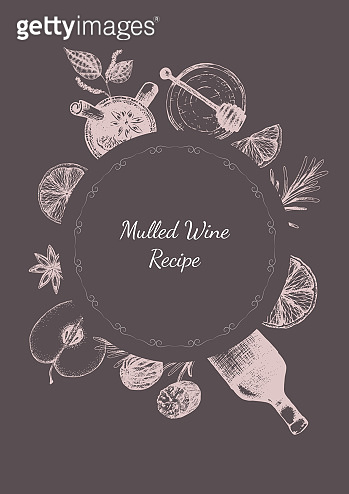 Vector illustration for cover for mulled wine recipe. Set of spices for mulled wine packaging design in freehand drawing style. Label or dark wine color.