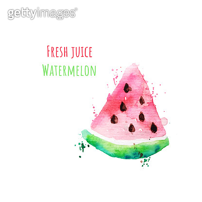 Watercolor drawing of a slice of watermelon with seeds and paint splashes.