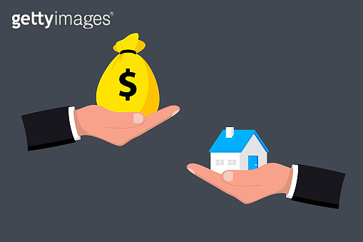 Home and money on hand. Money and home. Buying a house. Sale and purchase concept. Deal sale and purchase