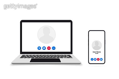 Video call on smartphone and laptop. Remote working. Video Call screen template. Interface for social communication app. Video conference. Mockup Video Conferencing and online meeting workspace