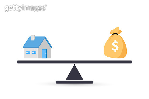 Home and money on scale. Money and home. Buying a house. Sale and purchase concept. Deal sale and purchase