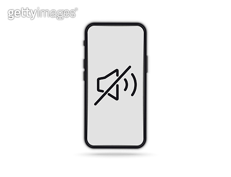 Phone call prohibit sign. Device icon. no mobile phone. No sound sign for mobile phone. Volume off or mute mode sign for smartphone. Please silence your mobile phone, smartphone silence zone
