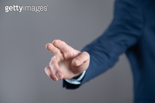 man touching in screen