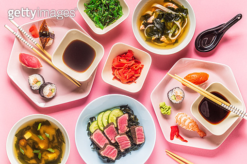 Table with traditional japanese food