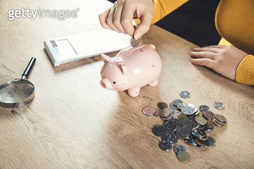 woman hand coins and piggy bank with calculator