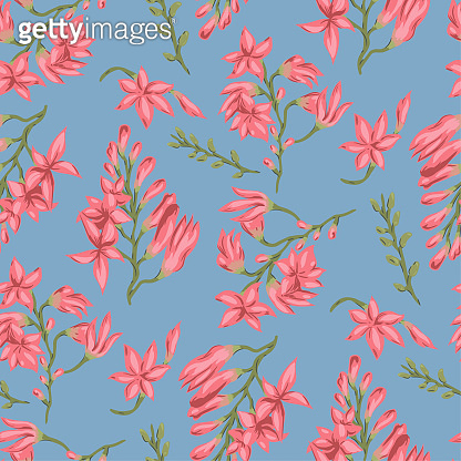 Seamless vector floral pattern. Flowers background for design, fabric, textile, cover, wrapping etc. Beautiful botanic flowers field bouquet.