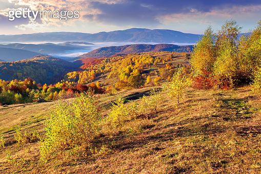 autumn sunrise in mountainous countryside