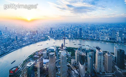 Shanghai China at sunset
