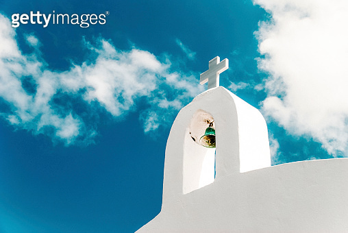 White church on Santorini island in Greece