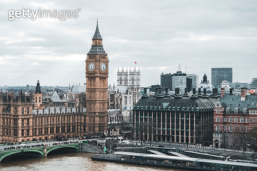 Aerial view overlooking London and Big Ben clock tower