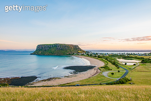 City of Stanley and green landscape and blue sea in Tasmania, Australia