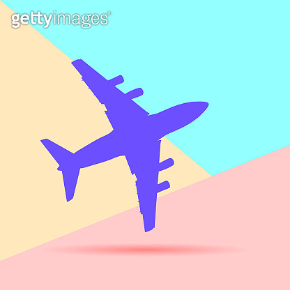 Flat modern art design graphic image of airplane silhouette on p