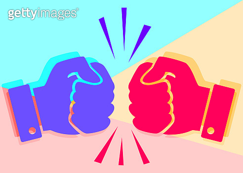 Concept of fierce competition. Flat lay art two hands clenched into fists collide on pink and blue background.