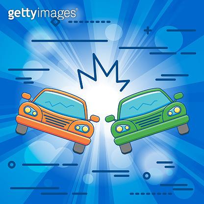 Flat Line design graphic image concept of car crash vector illus