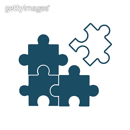 High quality dark blue flat puzzle pieces icon. Pictogram, game, object. Useful for web site, banner, greeting cards, apps and social media posts.