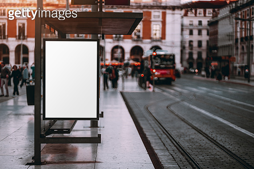 Billboard mockup on the tram station