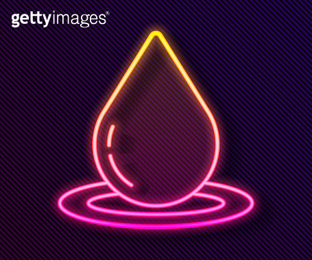 Glowing neon line Water drop icon isolated on black background. Vector Illustration