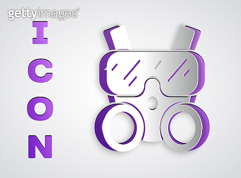 Paper cut Gas mask icon isolated on grey background. Respirator sign. Paper art style. Vector