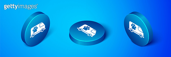 Isometric Veterinary ambulance icon isolated on blue background. Veterinary clinic symbol. Blue circle button. Vector