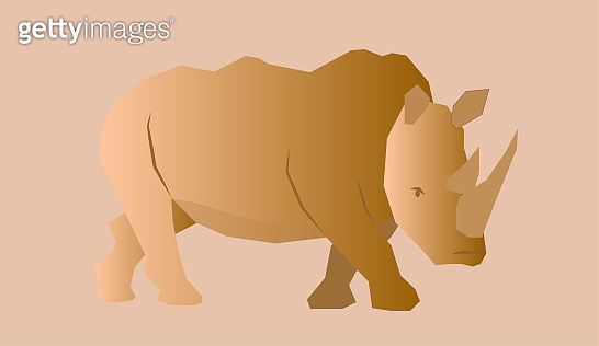 Wild animal rhino in abstract style. Vector illustration.