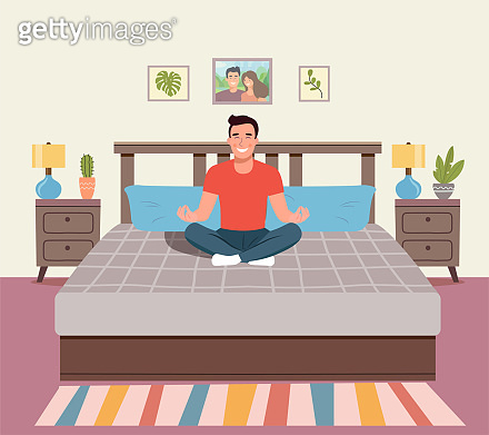 Man meditating. Man in yoga pose, lotus position. Vector flat illustration isolated
