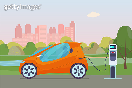 Electric compact car on a background of abstract cityscape. Electric car is charging, side view. Vector flat illustration.
