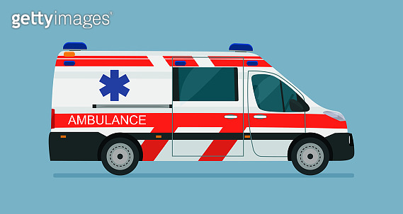 Ambulance van isolated, side view. Vector flat style illustration.