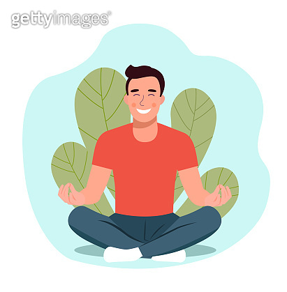 Young man doing yoga. Man relaxing in the lotus position. Vector flat illustration.