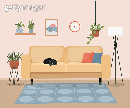 Furniture: sofa, bookcase, picture. Living room interior. Sleeping Cat.Flat style vector illustration