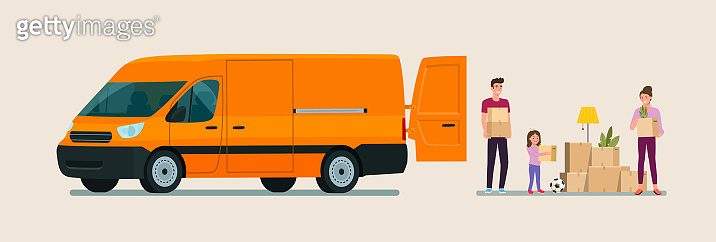 Man, woman  and girl hold boxes. Moving house. Cargo van with open door.  Vector flat style illustration.