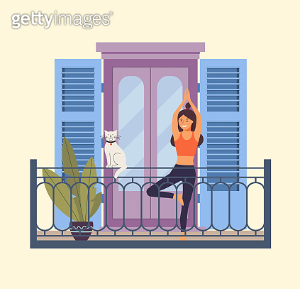 Young woman in yoga tree pose on the balcony. Vector flat illustration.