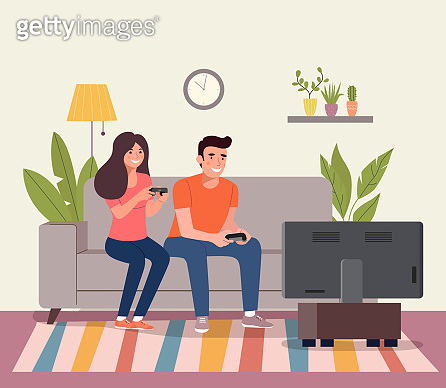 Young woman and man playing videogame on the sofa. Vector flat style illustration