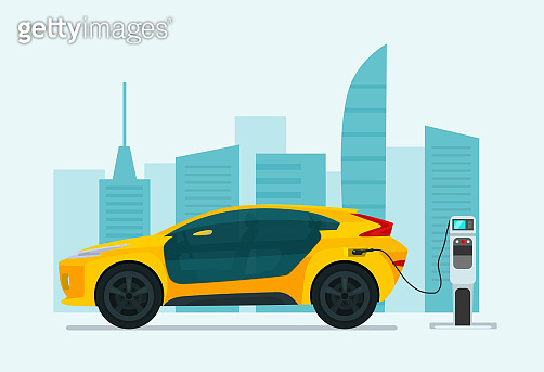 Electric SUV car on a background of abstract cityscape. Electric car is charging, side view. Vector flat illustration.