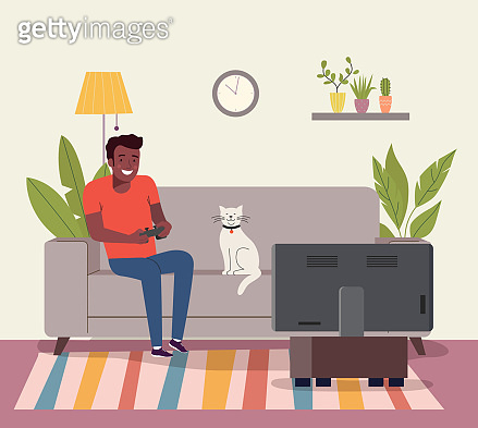 Afro american Man playing videogame on the sofa. Vector flat style illustration