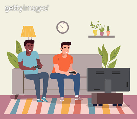 Men playing videogame on the sofa. Vector flat style illustration