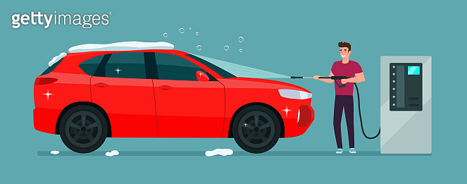 A man washes a car in a self-service car wash. Vector illustration.