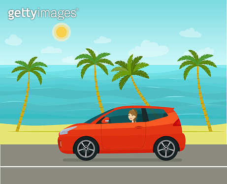 Compact hatchback car with a young woman against the backdrop of a tropical sea landscape. Vector flat style illustration.