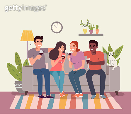 Girlfriends are drinking a glass of red wine in their living room. Vector flat style illustration